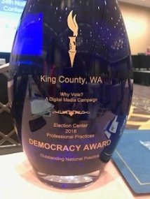 Pictured: A close up of the prestigious Democracy Award.